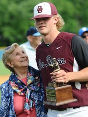 From 2015: Don Bosco's Cullen Dana collects the Most Outstanding Pitcher trophy after defeating Bergen Catholic 9-5 during the Bergen County baseball final at Demarest High School.