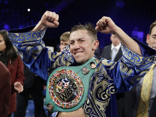 Gennady Golovkin reacts following a fight against Canelo