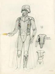 Darth Vader concept art by John Mollo, graphite pencil, colored pencil and ink on paper.
