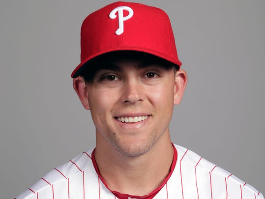 FILE - This is a Feb. 20, 2018, file photo showing Scott Kingery of the Philadelphia Phillies baseball team. Kingery has shown the Phillies he's ready to play in the majors even if it takes a bit longer for him to get there. Kingery is considered the top second-base prospect in baseball and already has been compared to Craig Biggio and Dustin Pedroia. But Cesar Hernandez is Philadelphia's starting second baseman so Kingery has been playing other positions in spring training.(AP Photo/Lynne Sladky, File)