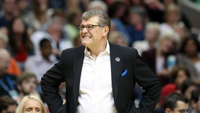 Connecticut Huskies head coach Geno Auriemma reacts in the second quarter of his team's 2017 Final Four game.
