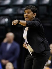 Indiana Fever coach Pokey Chatman shouts instructions during the first half of the team's WNBA basketball game against the Minnesota Lynx, Wednesday, Aug. 30, 2017, in Indianapolis.