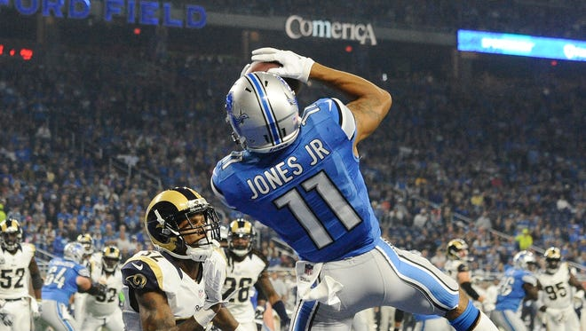 Lions' Marvin Jones Jr. had two catches for 10 yards, including a touchdown, in last week's win over the Rams.