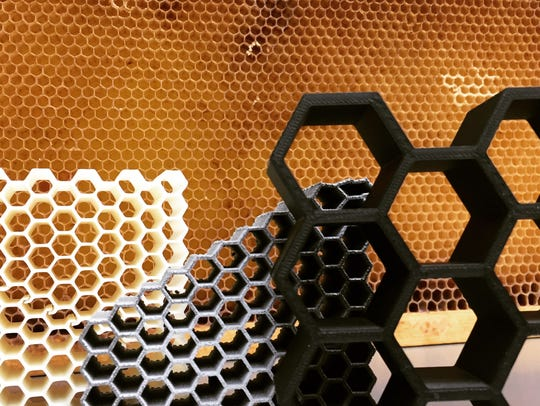 Examples of honeycomb structures printed by Dhruv Bhate