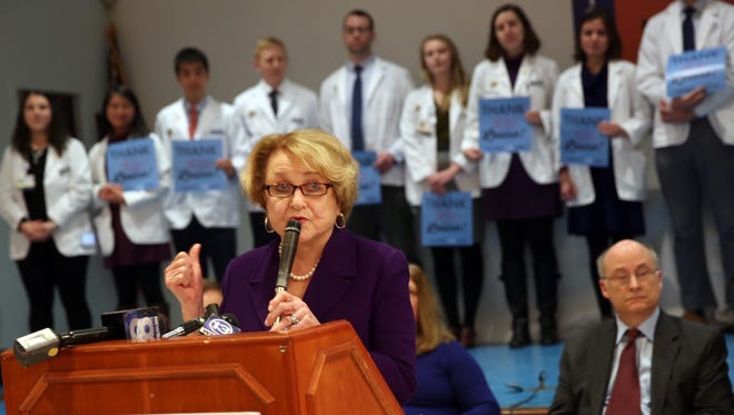 Rep. Lousie Slaughter addresses a crowd of Affordable Care Act supporters on Jan. 15, 2017. Behind Slaughter, medical students of the University of Rochester line up to support Slaughter and the Affordable Care Act.