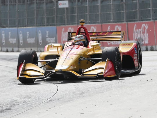 Ryan Hunter-Reay takes turn one during the second race