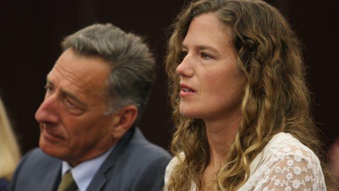Vermont Gov. Peter Shumlin and his longtime girlfriend, Katie Hunt, are seen in June 2015.