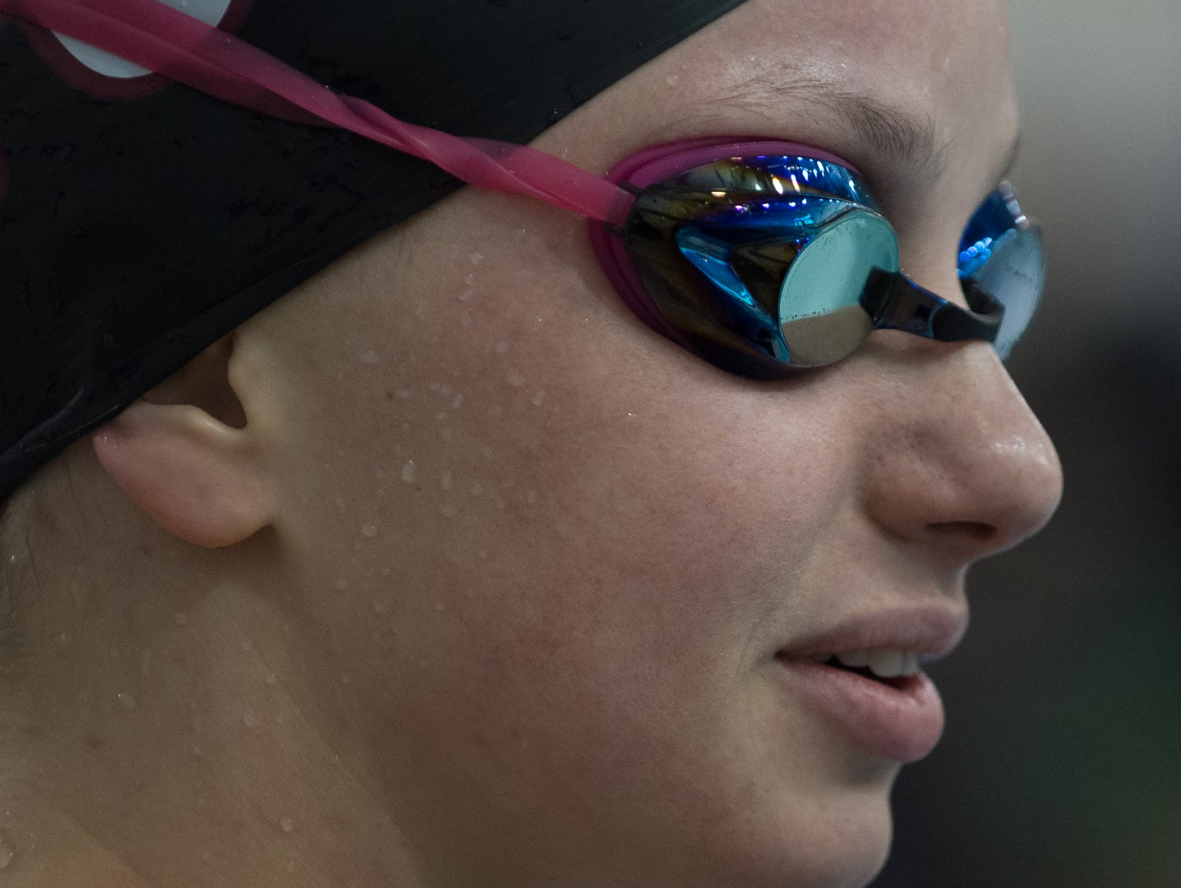 Appoquinimink's Josephine Marsh prepares to compete in the 100 yard butterfly final at the girl's DIAA swimming and diving championships at the University of Delaware.