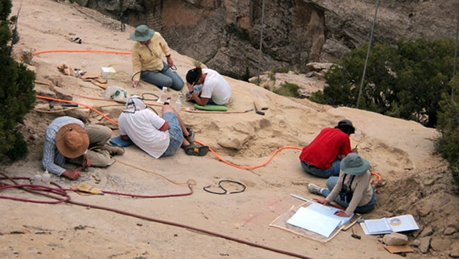 Paleontologists work at a site where a pterosaur was found at Dinosaur National Monument near the town of Jensen in northeastern Utah.