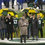 GREEN BAY, WI - NOVEMBER 26:  Mark Murphy, President and CEO of the Green Bay Packers addresses the crowd during the jersey retirement ceremony for Brett Favre at halftime at Lambeau Field on November 26, 2015 in Green Bay, Wisconsin.  (Photo by Mike McGinnis/Getty Images)