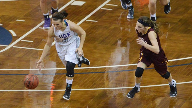 USF's Taylor Varsho (3) dribbles down the court alongside Minnesota-Crookston's Alexa Thielman (12) in Sunday's NSIC tournament quarterfinal game at the Sanford Pentagon, Feb 28, 2016.