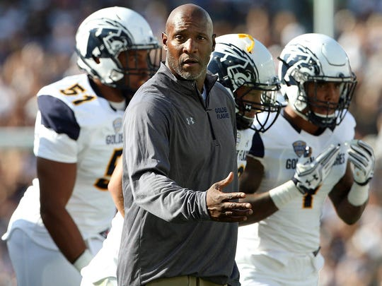 FILE - In this Sept. 3, 2016, file photo, Kent State head coach Paul Haynes works the sideline during the first half of an NCAA college football game against Penn State in State College, Pa. Haynes has been fired after five losing seasons, Kent State announced Wednesday, Nov. 22, 2017.  (AP Photo/Chris Knight, File)