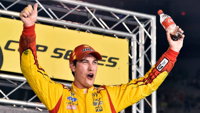 Joey Logano won for the first time at Bristol Motor Speedway on Saturday.