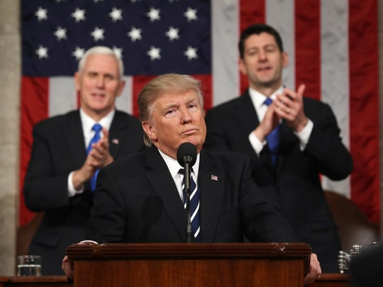 President Donald Trump addresses a joint session of Congress on Capitol Hill in Washington on Tuesday.