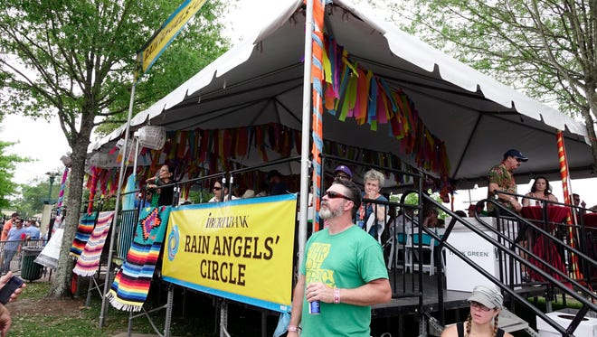 The Rain Angels tent at the scene LUS International stage during Festival International de Louisiane in downtown Lafayette Sat., April 29, 2017.