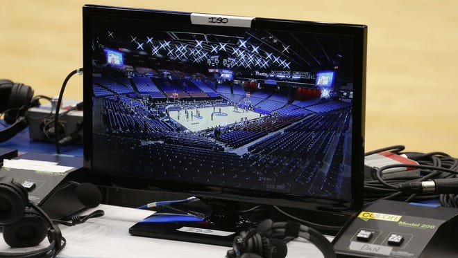 A TV monitor during the 2014 NCAA tournament.