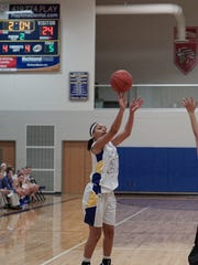 Ontario's NaShail Shelby shoots a 3-pointer against