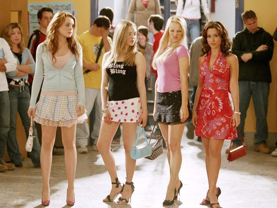 "Lindsay Lohan (from left), Amanda Seyfried, Rachel McAdams and Lacey Chabert star in ""Mean Girls."""