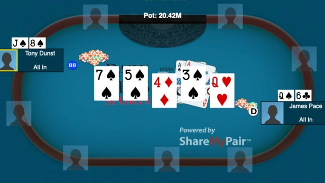 The big hand that handed Tony Dunst a virtual World Series of Poker bracelet this year.