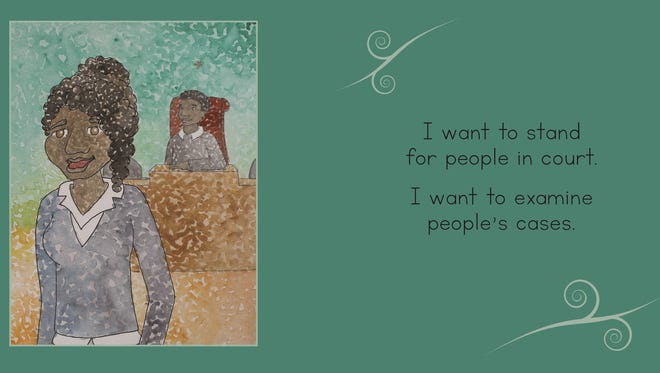"""A page from """"What Do I Want to Be When I Grow Up?"""" Written by Mtisunge Mhango and illustratred by Katie LaPlaunt."""