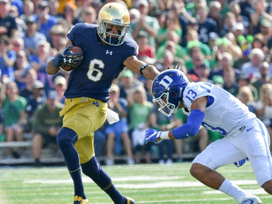 Equanimeous St. Brown (6)  led the Irish with 961 receiving