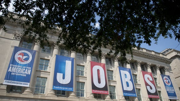 A jobs sign on the U.S. Chamber of Commerce building in Washington, D.C., in August 2013. The group, along with the Indiana Chamber of Commerce, has endorsed Rep. Todd Young in Indiana's Senate Republican primary.