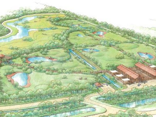 An artist's rendering of what the completed 225-acre National Elephant Center would have looked like. The Fellsmere facility was being constructed in phases and was expected to house 36 elephants at a time when it was finished.
