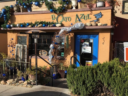 El Gato Azul is a cozy spot, with a covered patio overlooking