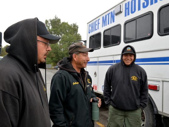 Chief Mountain Hotshots from the Blackfeet Nation from left: Jonathan Whitford, Donnie Gallagher, Johnathan Skunkcap talk about the brotherhood and importance of being on the hotshot crew Thursday morning in Choteau.