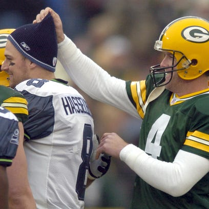 Packers quarterback Brett Favre has some fun with Seattle