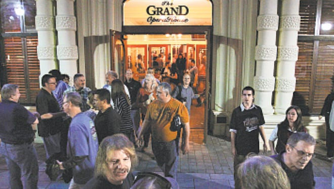 Concertgoers file out of The Grand after a George Thorogood show on Sept. 29, 2011. To attract more people and move forward, Wilmington's downtown must overcome a reputation of violence.