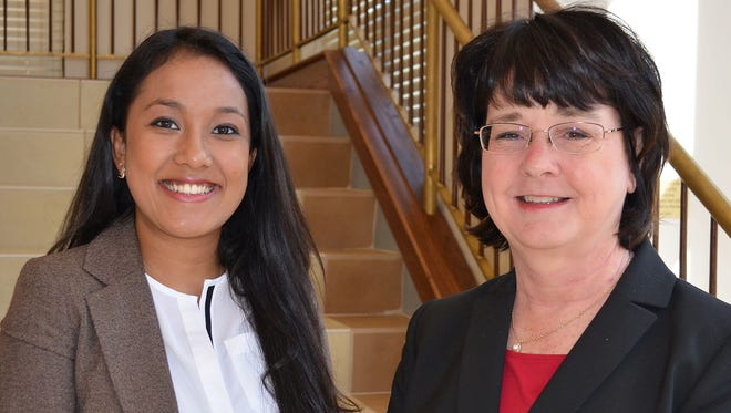 Nistha Pradhan, left, a senior business administration major at William Carey University, poses with Dr. Cheryl Dale, dean of the WCU School of Business. Pradhan was one of 20 students nationally to be named to the Sigma Beta Delta Fellowship Program.