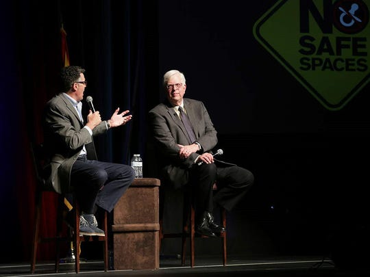 "Adam Carolla and Dennis Prager in ""No Safe Spaces."""