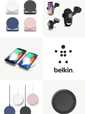 A collection of Belkin wireless charging products.