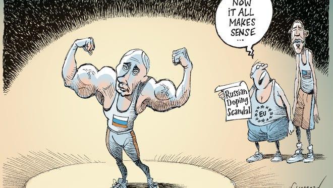 Patrick Chappatte, The International New York Times, drew this Desert Sun editorial cartoon for Nov. 12, 2015.