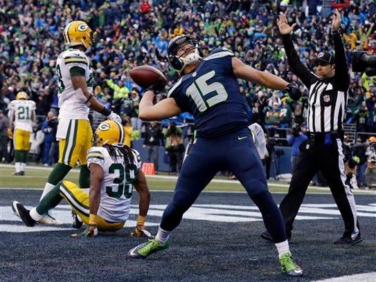 Seattle Seahawks' Jermaine Kearse celebrates after