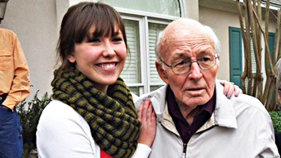 Mary Caroline May (left) with Lamar Moss, her grandfather.