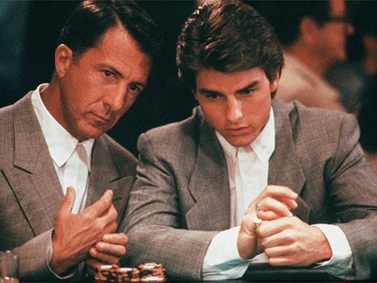 Dustin Hoffman, left, and Tom Cruise appear in a scene
