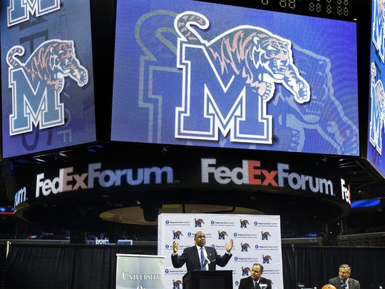 Memphis basketball coach Tubby Smith speaks during a press conference at the FedExForum on April 14, 2016.