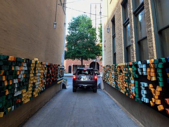 Interactive street art in Chattanooga, Tn. on Thursday