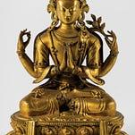 Amitabha Buddha, Central Tibet, 19th century pigment on cloth, is included in the Buddhist art exhibit at Vassar College's Frances Lehman Loeb Art Center.