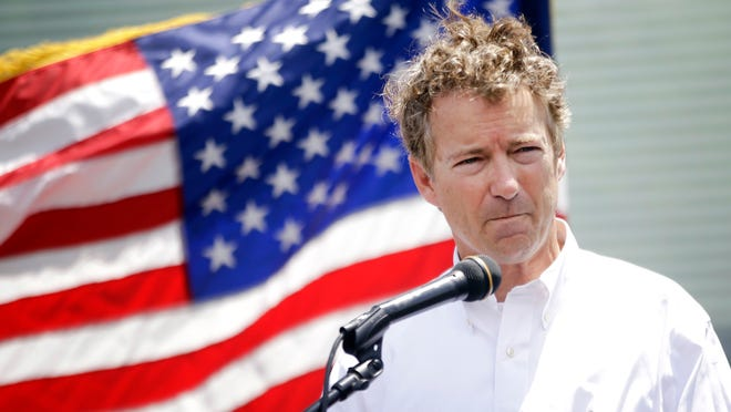 U.S. Sen. and presidential candidate Rand Paul, R-Bowling Green, speaks at a rally at the World Peace Bell Saturday in Newport.