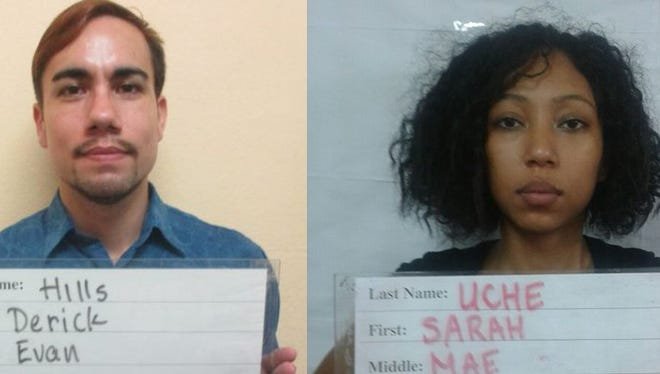 This combined image shows Derick Evan Hills, who goes by Derick Baza Hills, and Sarah Mae Uche.