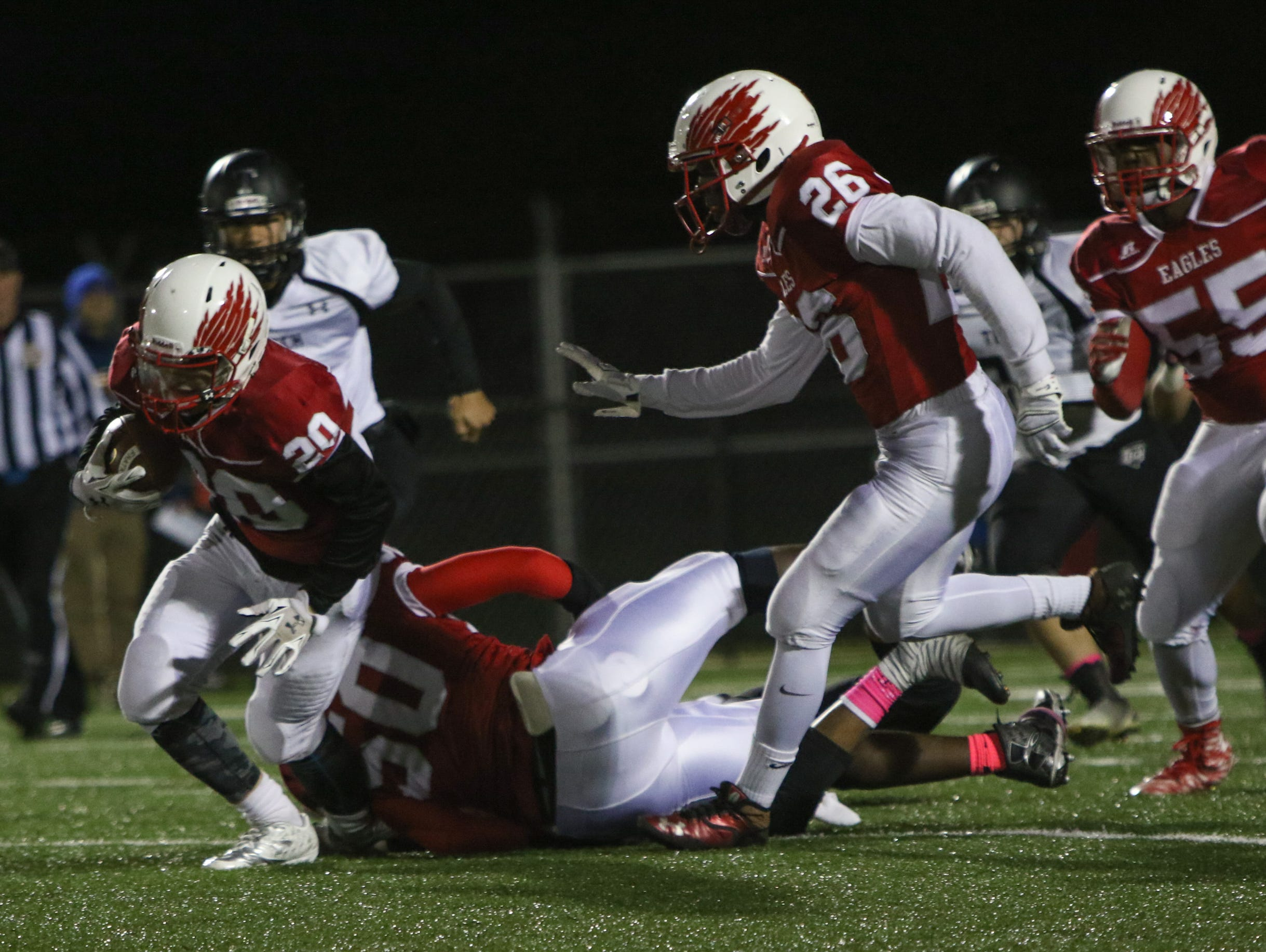 Smyrna defensive back Jake Kaiser recovers a Sussex Tech fumble in the fourth quarter. Smyrna defeats previously undefeated Sussex Tech 42-0 at Smyrna Saturday.
