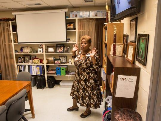 West Salisbury Elementary Principal Melva Wright stands