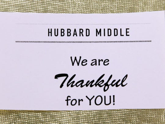 A place setting at the Hubbard Middle School cafeteria for the school's first-ever Thanksgiving for the needy.