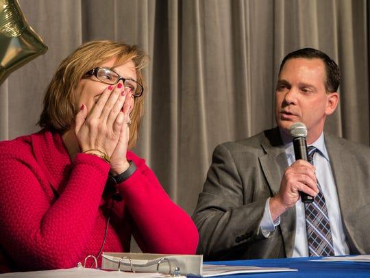 Bennett Middle School Principal, Liza Hastings, reacts