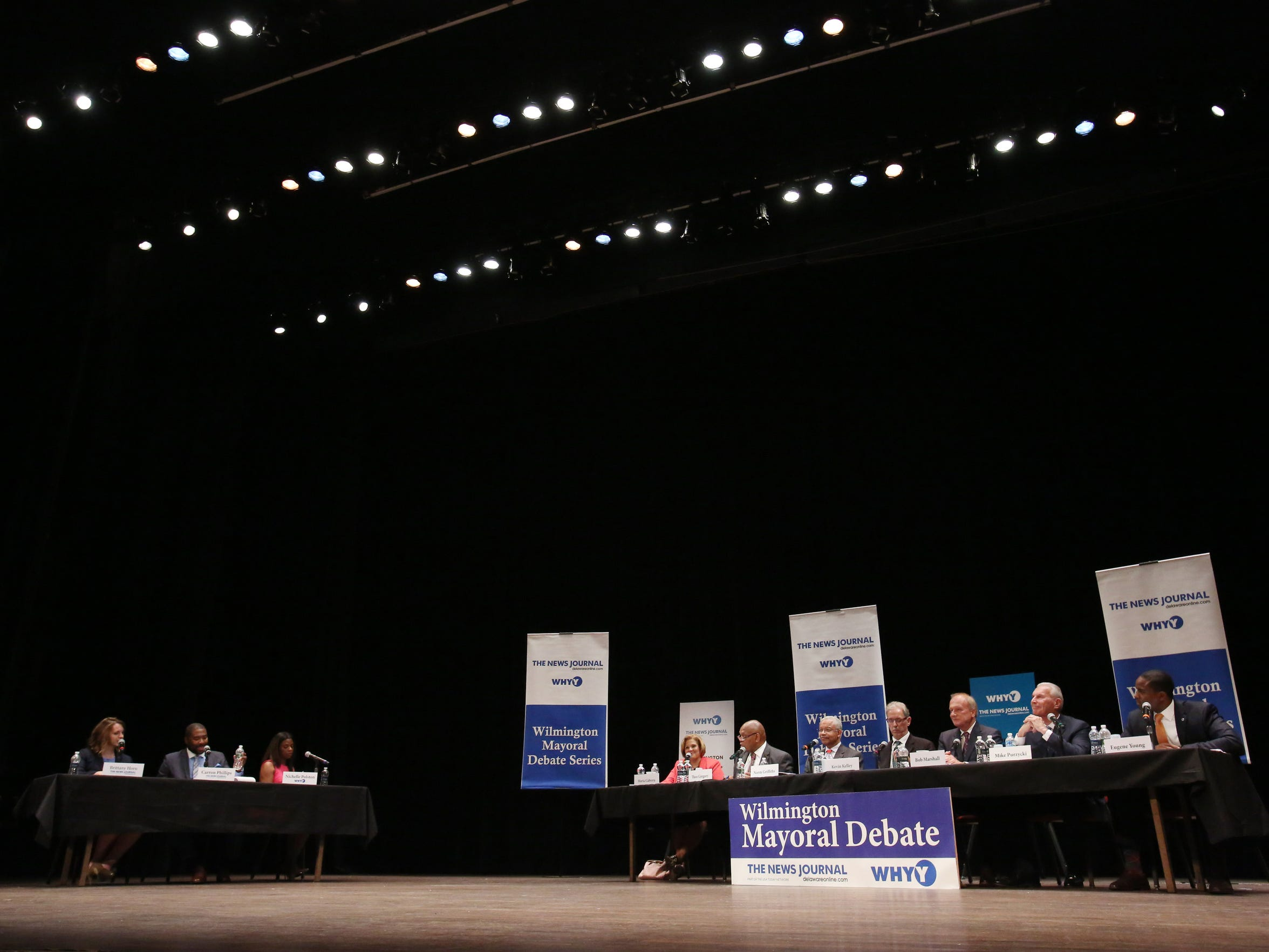 Wilmington mayoral candidates and panelists take the stage at a debate at the Grand Opera House Thursday.