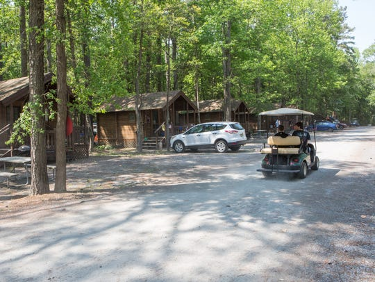 A view of cabins at Frontier Town on Friday, May 27,