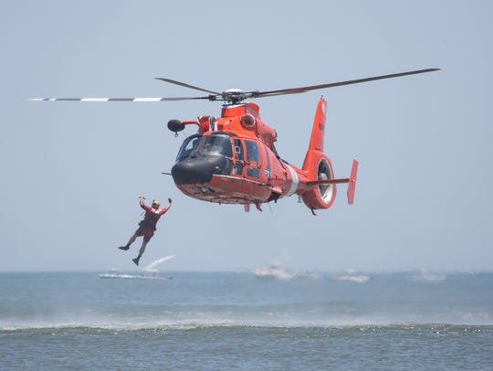The US Coast Guard demonstrates a rescue operation
